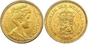 5 Gulden Reino de los Países Bajos (1815 - ) Oro Guillermina de los Países Bajos(1880 - 1962)