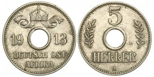 5 Heller German East Africa (1885-1919) 銅/镍
