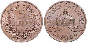 5 Heller German East Africa (1885-1919) 青铜