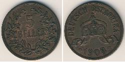 5 Heller África Oriental Alemana (1885-1919) Bronce