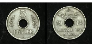 5 Heller German East Africa (1885-1919) Copper/Nickel