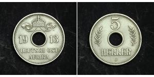 5 Heller África Oriental Alemana (1885-1919) Níquel/Cobre