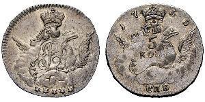 5 Kopeck 俄罗斯帝国 (1721 - 1917) 銀 Jelisaweta I Petrowna (1709-1762)