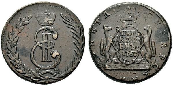 5 Kopeck Russian Empire (1720-1917) Copper Catherine II (1729-1796)