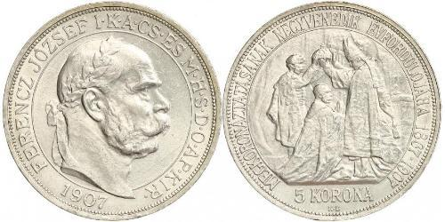 5 Korona Autriche-Hongrie (1867-1918) Argent Franz Joseph I (1830 - 1916)