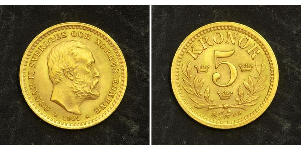 5 Krone 瑞典 金 奧斯卡二世 (1829-1907)