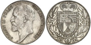 5 Krone Liechtenstein 銀 Johann II, Prince of Liechtenstein (1840-1929)