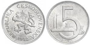 5 Krone Cecoslovacchia  (1918-1992) Alluminio