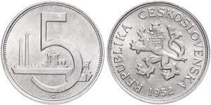 5 Krone Tschechoslowakei  (1918-1992) Aluminium
