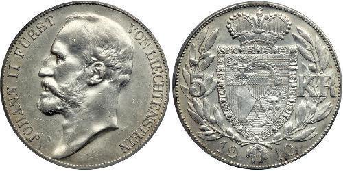 5 Krone Liechtenstein Argent Johann II, Prince of Liechtenstein (1840-1929)