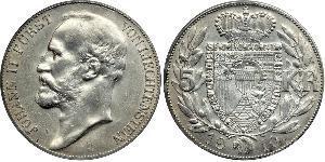 5 Krone Liechtenstein Argento Johann II, Prince of Liechtenstein (1840-1929)