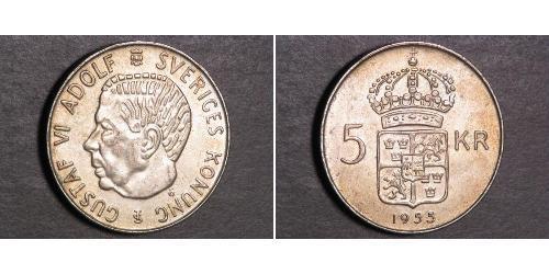 5 Krone Svezia Argento Gustavo VI Adolfo di Svezia (1882 - 1973)