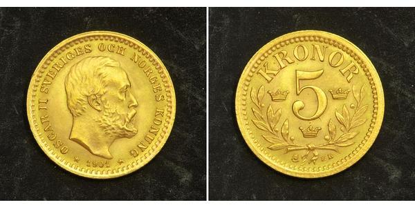 5 Krone Schweden Gold Oskar II. (Schweden) (1829-1907)