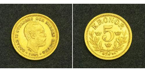 5 Krone Sweden Gold Oscar II of Sweden (1829-1907)