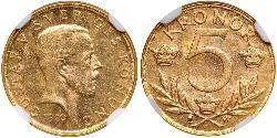 5 Krone Suède Or Gustave V de Suède (1858 - 1950)