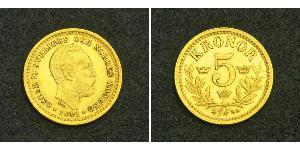 5 Krone Suède Or Oscar II de Suède (1829-1907)