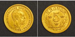 5 Krone Suecia Oro Óscar II de Suecia (1829-1907)