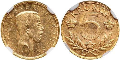 5 Krone Suecia Oro Gustavo V de Suecia (1858 - 1950)