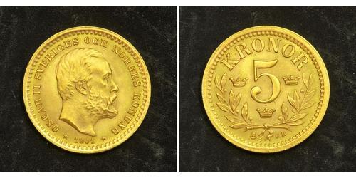 5 Krone Svezia Oro Oscar II di Svezia (1829-1907)