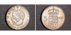 5 Krone Suecia Plata Gustavo VI Adolfo de Suecia (1882 - 1973)