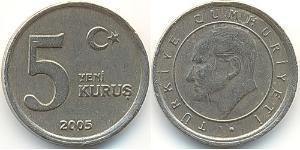 5 Kurush Turkey (1923 - ) Brass/Nickel