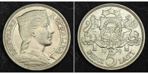 5 Lats Lettland (1991 - ) Silber
