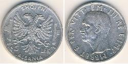 5 Lek Albanian Kingdom (1939-1943) Silver Victor Emmanuel III of Italy (1869 - 1947)