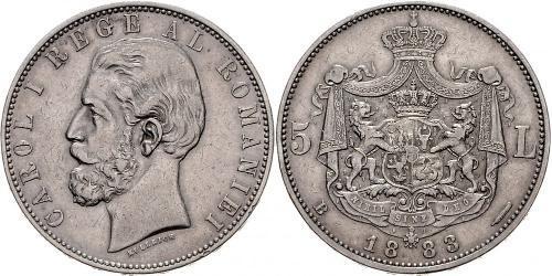 5 Leu Royaume de Roumanie (1881-1947) Argent Charles Ier de Roumanie (1839 - 1914)