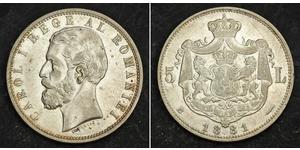 5 Leu Regno di Romania (1881-1947) Argento Carlo I di Romania (1839 - 1914)