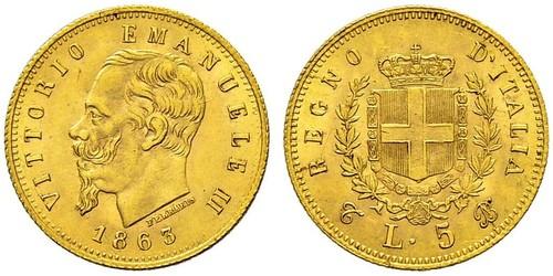 5 Lira 意大利王國 (1861-1946) 金 维托里奥·埃马努埃莱二世