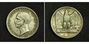 5 Lira 意大利王國 (1861-1946) 銀 维托里奥·埃马努埃莱三世 (1869 - 1947)