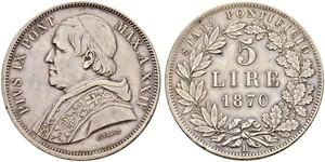 5 Lira 教皇国 (754 - 1870) 銀 Pope Pius IX (1792- 1878)