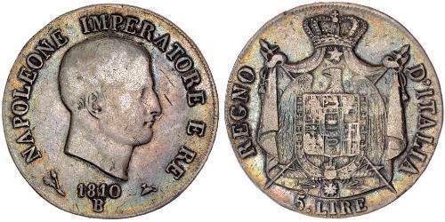 5 Lira 義大利王國 (拿破崙時代) (1805 - 1814) 銀 拿破仑一世(1769 - 1821)