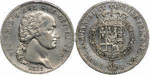 5 Lira Royaume de Sardaigne (1324 - 1861) Argent Victor-Emmanuel Ier de Sardaigne