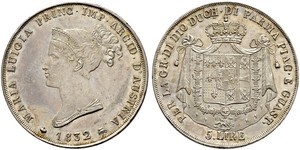 5 Lira Italia / Ducato di Parma e Piacenza (1545 - 1859) Argento Maria Luisa d