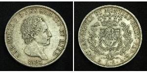 5 Lira Italian city-states Argento Carlo Felice di Savoia