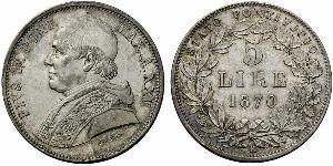 5 Lira Stato Pontificio (752-1870) Argento Papa Pio IX (1792- 1878)