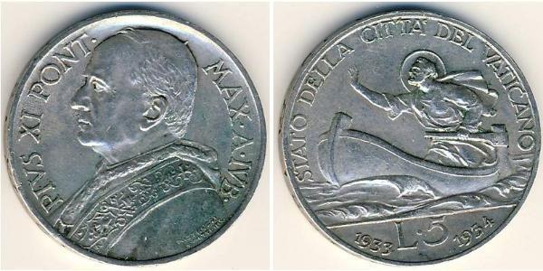 5 Lira Vatican (1926-) Gold Pope Pius XI (1857 - 1939)