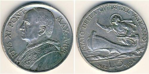 5 Lira Vatican (1926-) Or Pope Pius XI (1857 - 1939)