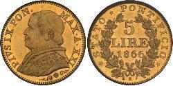 5 Lira Estados Pontificios (752-1870) Oro Pío IX (1792- 1878)