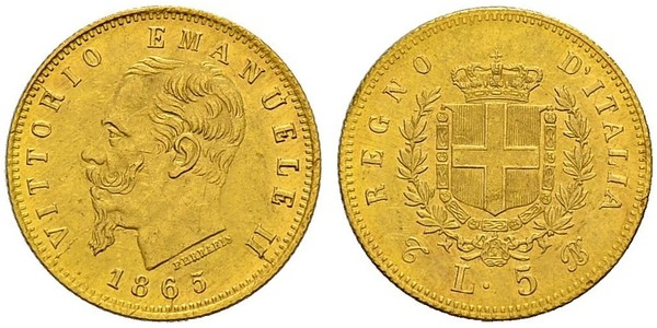 5 Lira Kingdom of Italy (1861-1946) Oro Victor Emmanuel II of Italy (1820 - 1878)