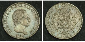 5 Lira Italian city-states Plata Carlos Félix de Cerdeña