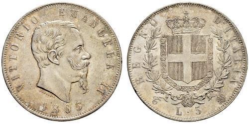 5 Lira Kingdom of Italy (1861-1946) Plata Victor Emmanuel II of Italy (1820 - 1878)