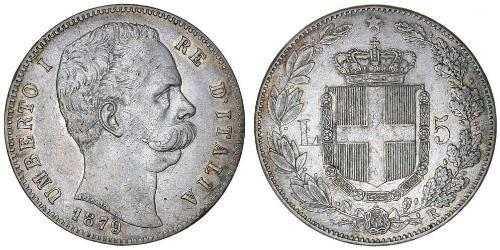 5 Lira Kingdom of Italy (1861-1946) Plata Umberto I (1844-1900)