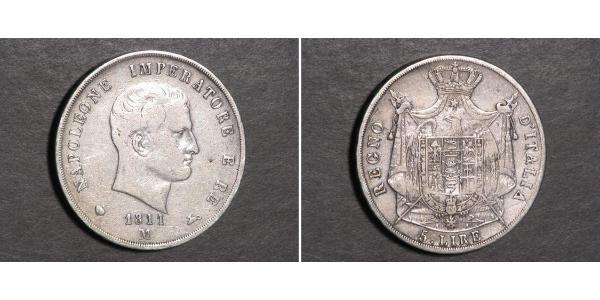 5 Lira Reino de Italia (1805–1814) Plata Napoleón Bonaparte(1769 - 1821)