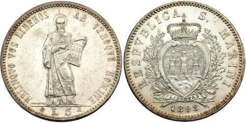 5 Lira San Marino Plata