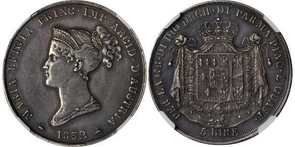 5 Lira Herzogtum Parma (1545 - 1859) / Italien Silber Marie-Louise von Österreich