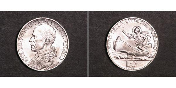 5 Lira Vatikan (1926-) Silber Pius XII  (1876 - 1958)
