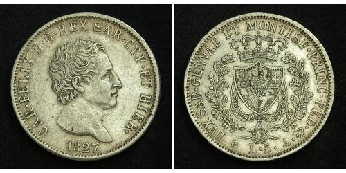 5 Lira Italian city-states Silver Charles Felix of Sardinia