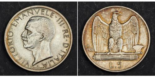 5 Lira Kingdom of Italy (1861-1946) Silver Victor Emmanuel III of Italy (1869 - 1947)